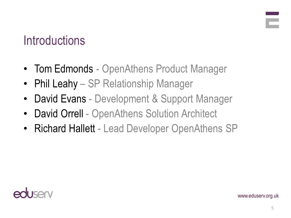 Introductions 5 Tom Edmonds - OpenAthens Product Manager Phil Leahy – SP Relationship Manager David Evans - Development & Support Manager David Orrell - OpenAthens Solution Architect Richard Hallett - Lead Developer OpenAthens SP