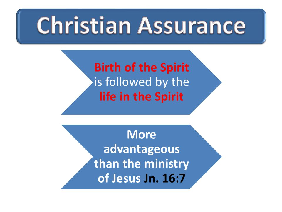 Birth of the Spirit is followed by the life in the Spirit More advantageous than the ministry of Jesus Jn.