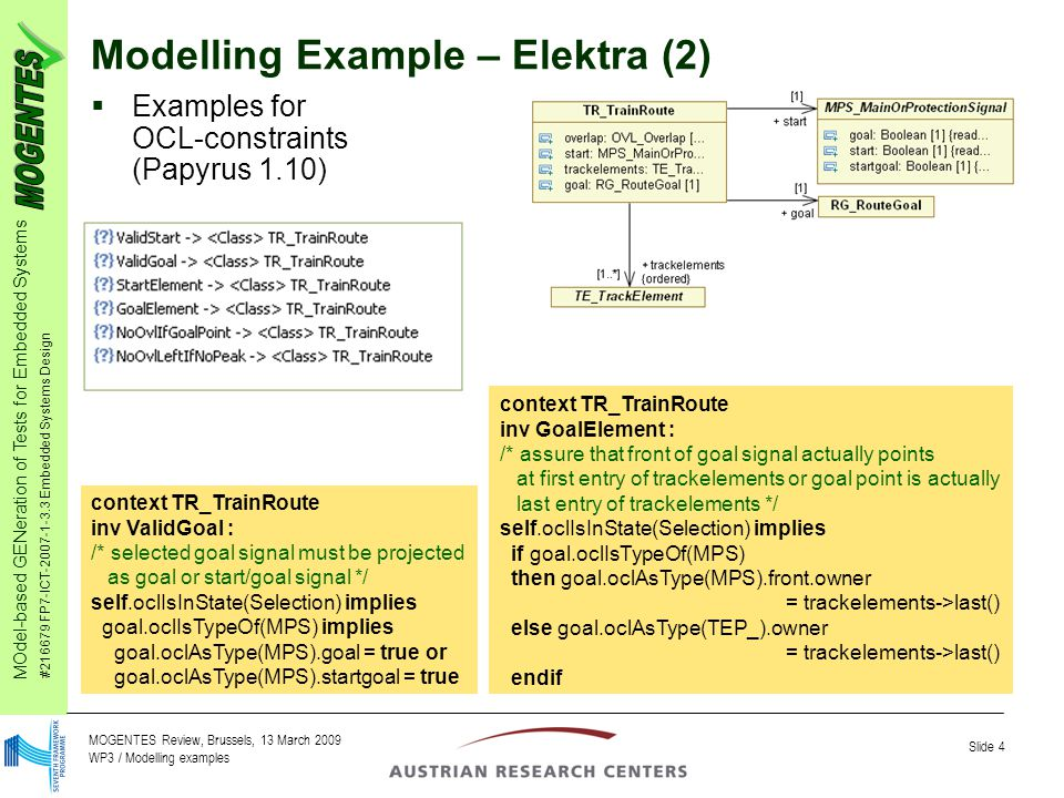 MOdel-based GENeration of Tests for Embedded Systems #216679 FP7-ICT-2007-1-3.3 Embedded Systems Design Slide 4 MOGENTES Review, Brussels, 13 March 2009 WP3 / Modelling examples Modelling Example – Elektra (2)  Examples for OCL-constraints (Papyrus 1.10) context TR_TrainRoute inv ValidGoal : /* selected goal signal must be projected as goal or start/goal signal */ self.oclIsInState(Selection) implies goal.oclIsTypeOf(MPS) implies goal.oclAsType(MPS).goal = true or goal.oclAsType(MPS).startgoal = true context TR_TrainRoute inv GoalElement : /* assure that front of goal signal actually points at first entry of trackelements or goal point is actually last entry of trackelements */ self.oclIsInState(Selection) implies if goal.oclIsTypeOf(MPS) then goal.oclAsType(MPS).front.owner = trackelements->last() else goal.oclAsType(TEP_).owner = trackelements->last() endif