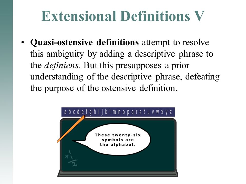 Extensional Definitions V Quasi-ostensive definitions attempt to resolve this ambiguity by adding a descriptive phrase to the definiens. But this pres