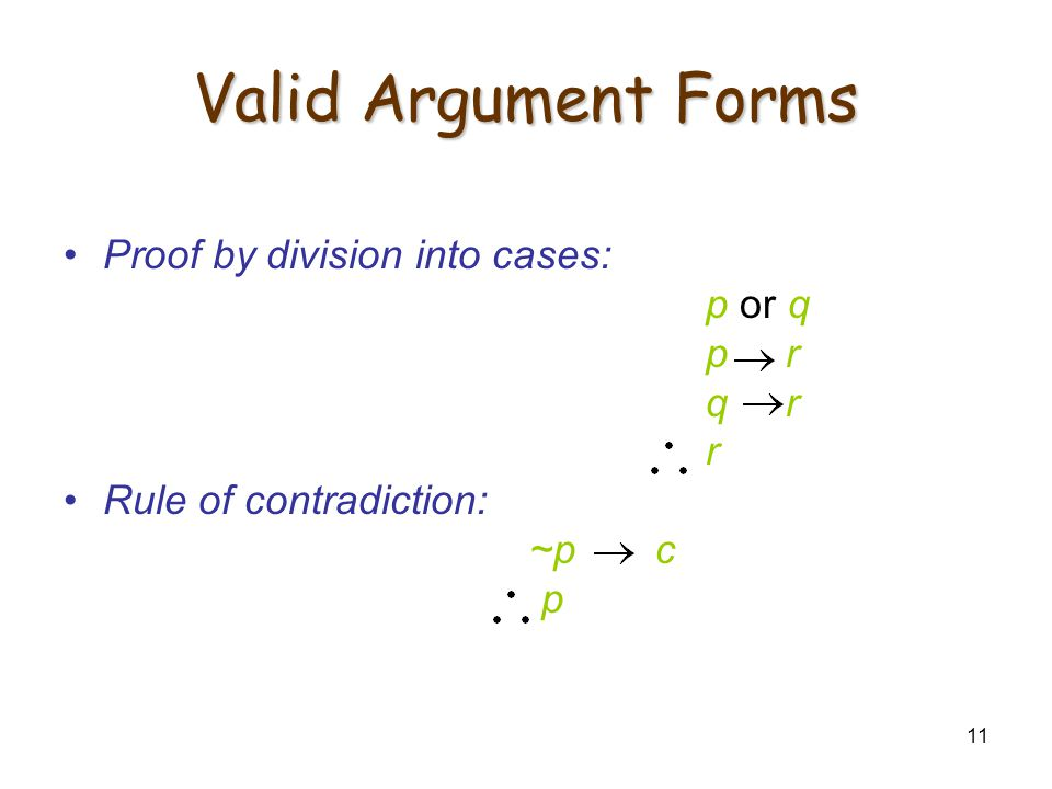 11 Valid Argument Forms Proof by division into cases: p or q p r q r r Rule of contradiction: ~p c p