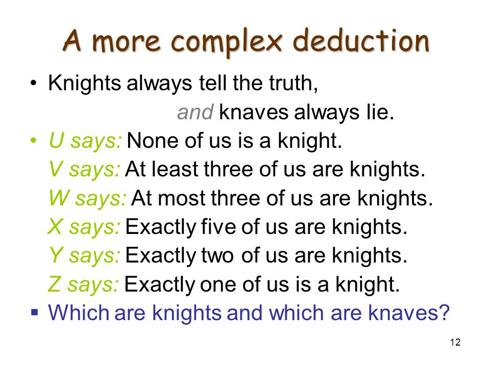 12 A more complex deduction Knights always tell the truth, and knaves always lie. U says: None of us is a knight. V says: At least three of us are kni