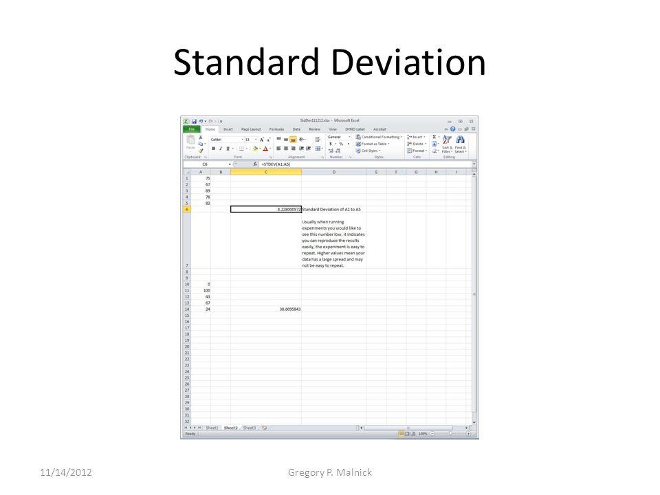 Standard Deviation 11/14/2012Gregory P. Malnick