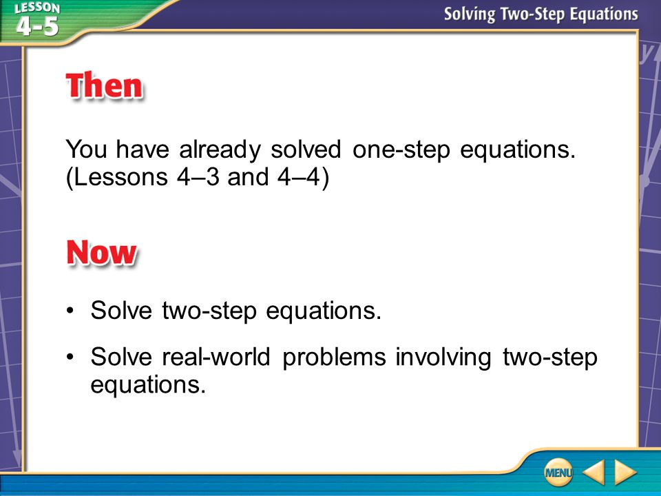 Then/Now You have already solved one-step equations.