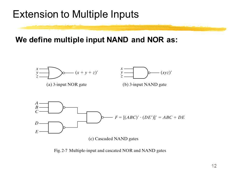 12 Extension to Multiple Inputs We define multiple input NAND and NOR as: