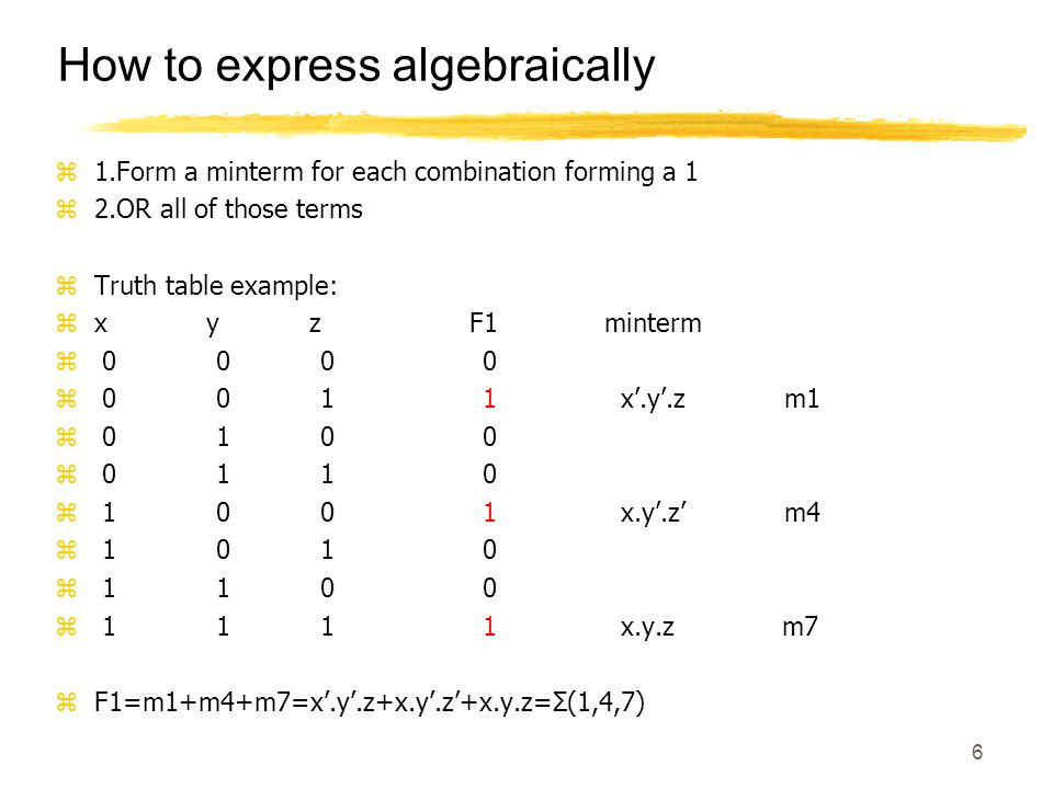 6 Boolean Function: Exampl How to express algebraically z1.Form a minterm for each combination forming a 1 z2.OR all of those terms zTruth table examp