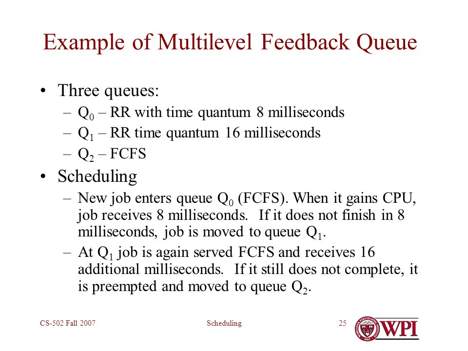 SchedulingCS-502 Fall 200725 Example of Multilevel Feedback Queue Three queues: –Q 0 – RR with time quantum 8 milliseconds –Q 1 – RR time quantum 16 milliseconds –Q 2 – FCFS Scheduling –New job enters queue Q 0 (FCFS).