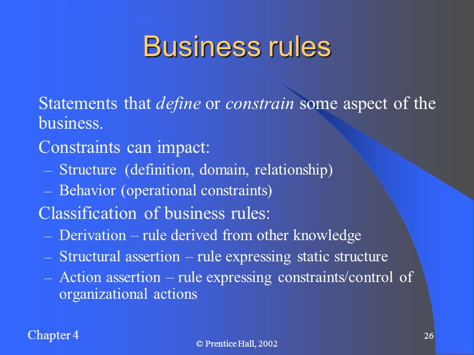 Chapter 4 26 © Prentice Hall, 2002 Business rules Statements that define or constrain some aspect of the business.