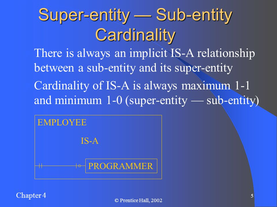 Chapter 4 5 © Prentice Hall, 2002 There is always an implicit IS-A relationship between a sub-entity and its super-entity Cardinality of IS-A is always maximum 1-1 and minimum 1-0 (super-entity — sub-entity) Super-entity — Sub-entity Cardinality EMPLOYEE PROGRAMMER IS-A