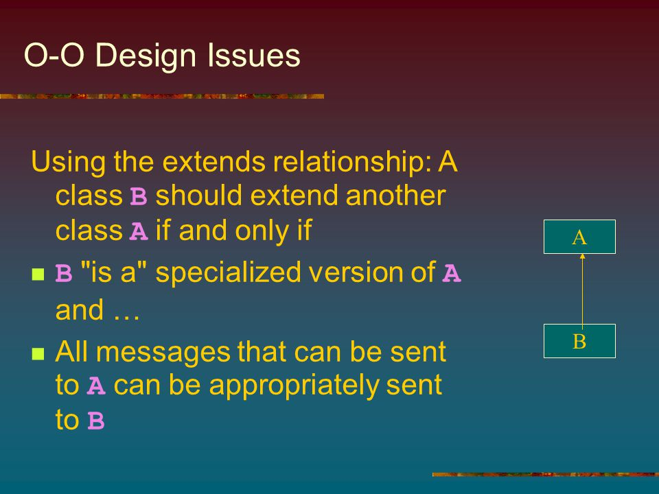 O-O Design Issues Using the extends relationship: A class B should extend another class A if and only if B is a specialized version of A and … All messages that can be sent to A can be appropriately sent to B A B