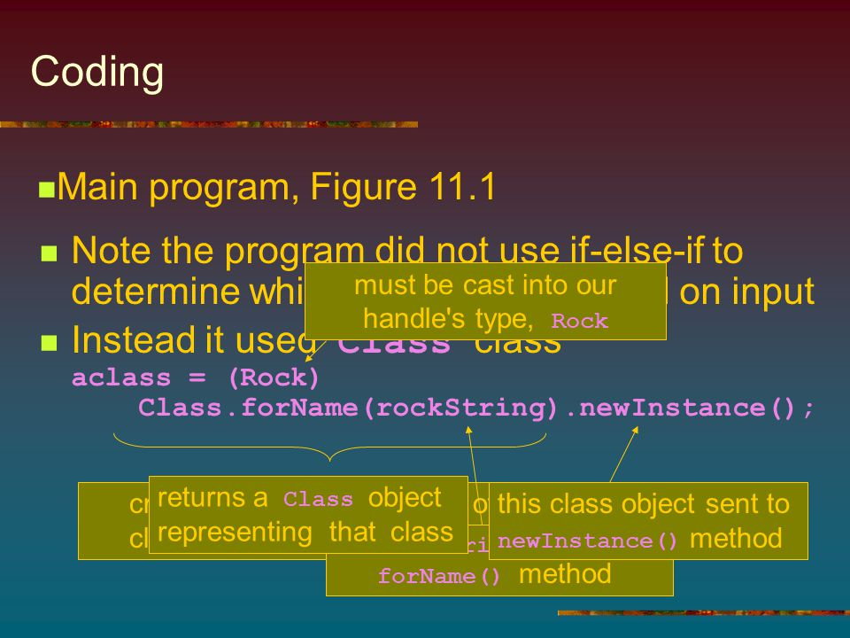 Coding Note the program did not use if-else-if to determine which class to use based on input Instead it used Class class aclass = (Rock) Class.forNam