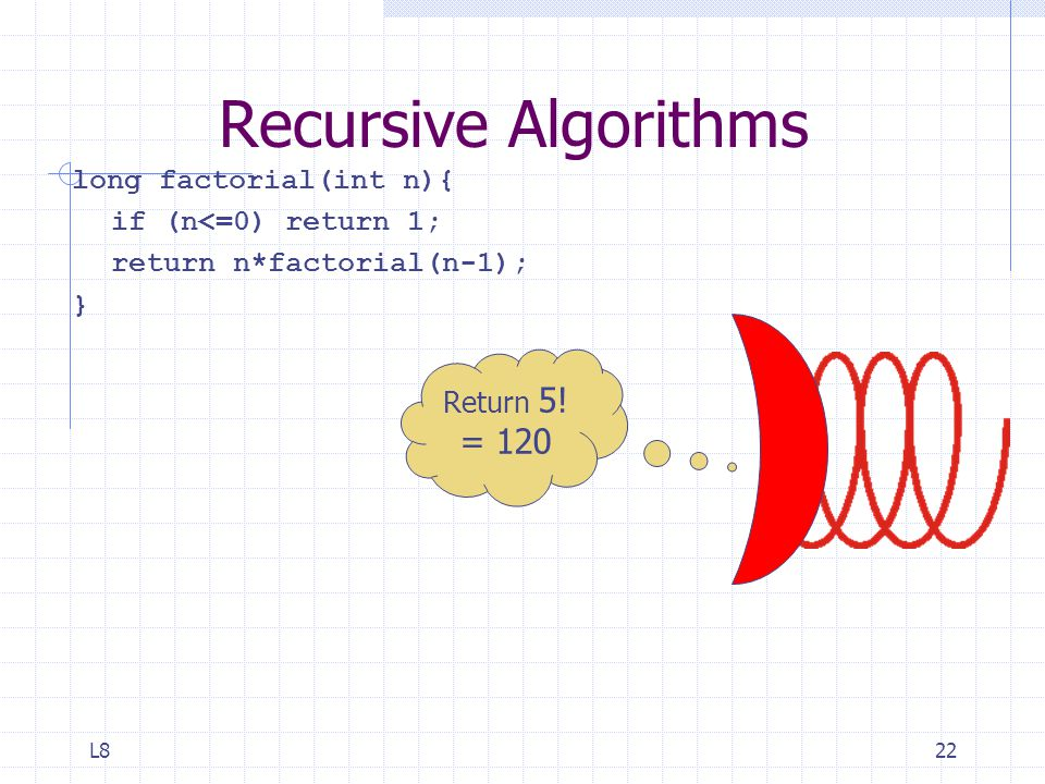 L822 Recursive Algorithms long factorial(int n){ if (n<=0) return 1; return n*factorial(n-1); } Return 5.