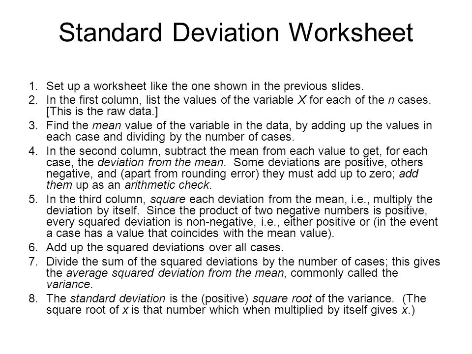 Worksheet Standard Deviation Worksheet With Answers measures of dispersion handout 7 while standard deviation worksheet 1 set up a like the one shown in previous