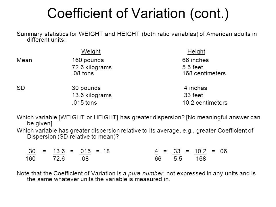 Coefficient of Variation (cont.) Summary statistics for WEIGHT and HEIGHT (both ratio variables) of American adults in different units: Weight Height Mean160 pounds66 inches 72.6 kilograms5.5 feet.08 tons168 centimeters SD 30 pounds 4 inches 13.6 kilograms.33 feet.015 tons10.2 centimeters Which variable [WEIGHT or HEIGHT] has greater dispersion.