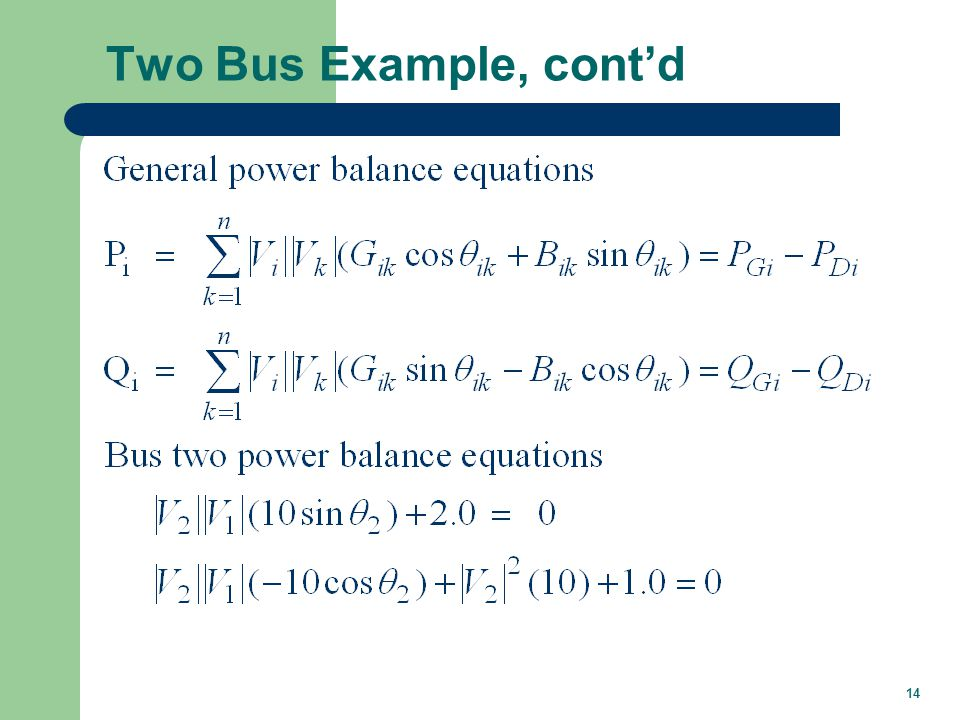 14 Two Bus Example, cont'd