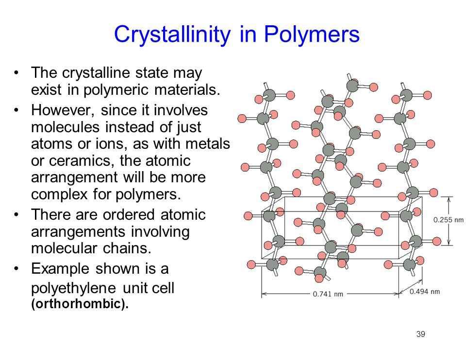 39 Crystallinity in Polymers The crystalline state may exist in polymeric materials. However, since it involves molecules instead of just atoms or ion