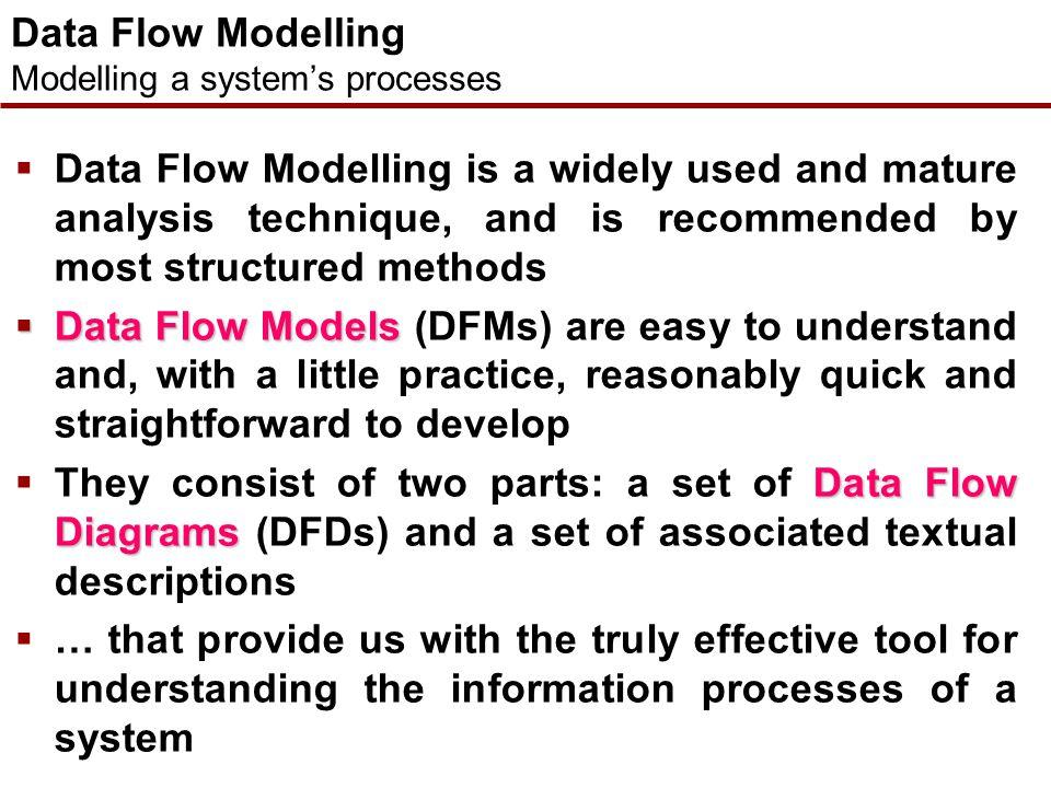 Data Flow Modelling Concepts  Data Flow Diagrams  I/O Descriptions  External Entities, Data Stores, Processes and Data Flows  The Context Diagram