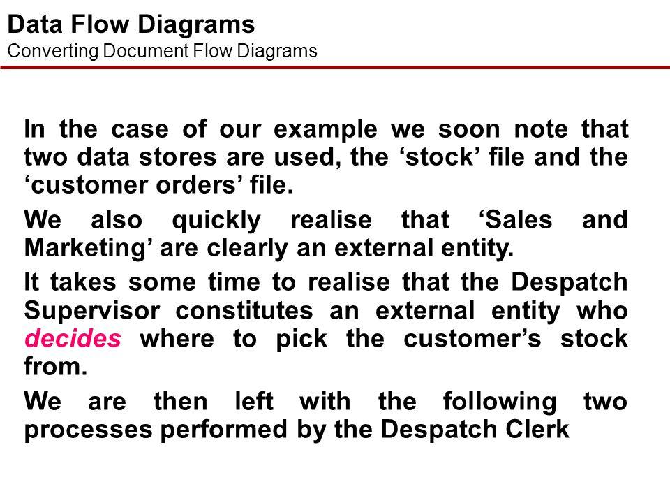 Data Flow Diagrams Converting Document Flow Diagrams What process generates this document flow? What process receives this document flow? Is the docum