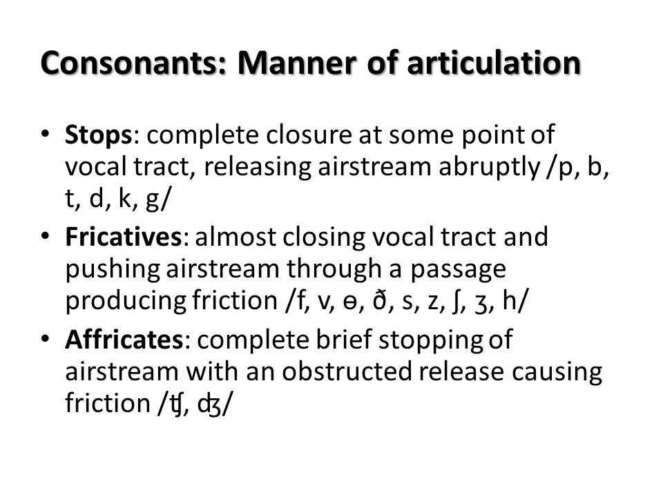 Consonants: Manner of articulation Stops: complete closure at some point of vocal tract, releasing airstream abruptly /p, b, t, d, k, g/ Fricatives: a