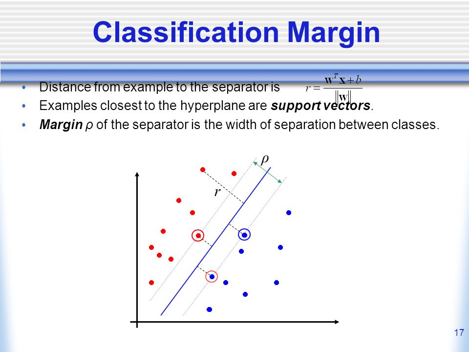 17 Classification Margin Distance from example to the separator is Examples closest to the hyperplane are support vectors.