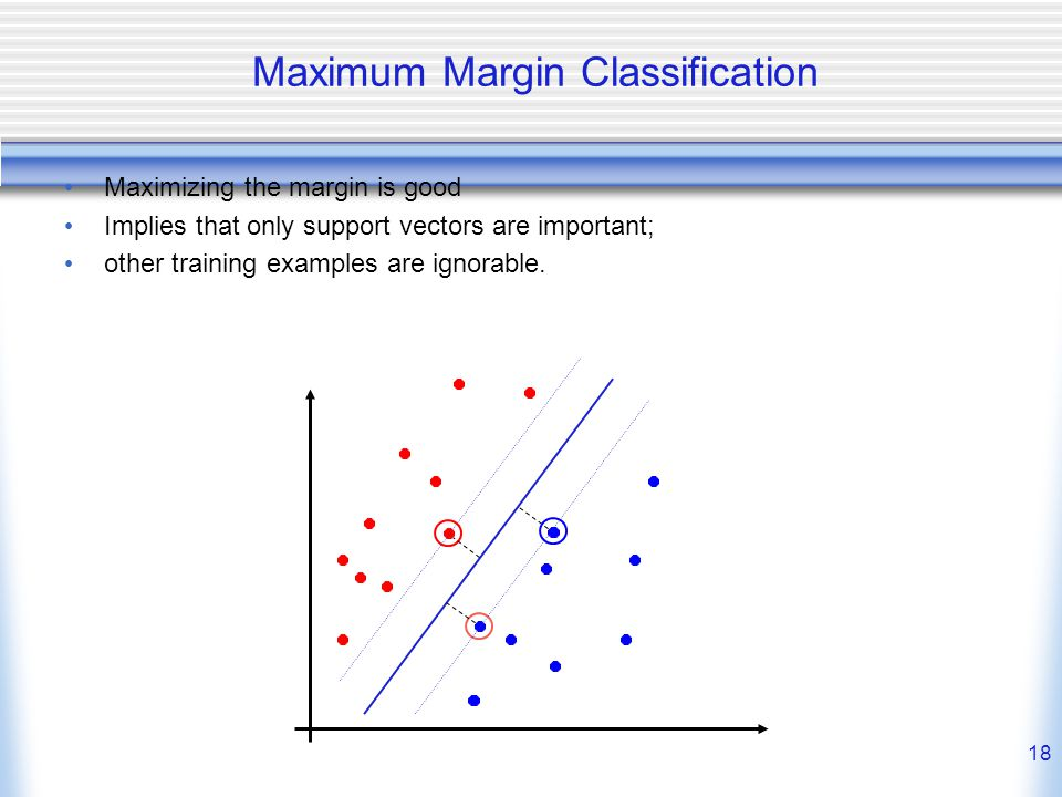 18 Maximum Margin Classification Maximizing the margin is good Implies that only support vectors are important; other training examples are ignorable.