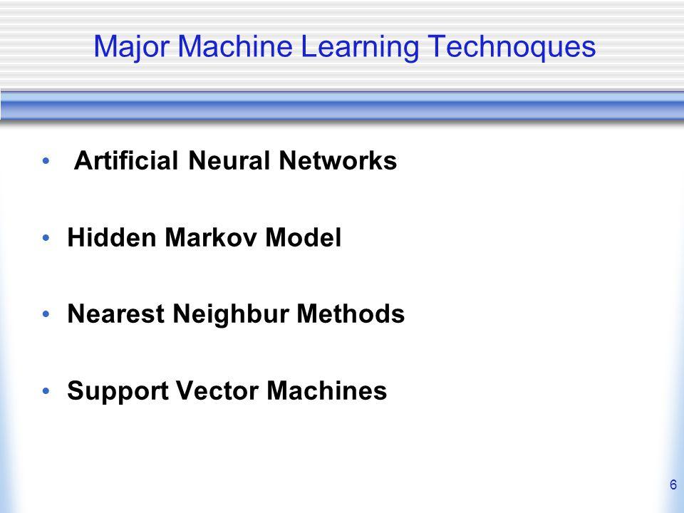 6 Major Machine Learning Technoques Artificial Neural Networks Hidden Markov Model Nearest Neighbur Methods Support Vector Machines