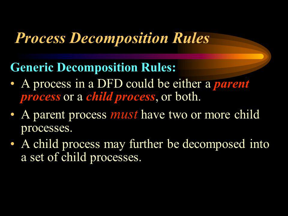 Process Decomposition Rules Generic Decomposition Rules: A process in a DFD could be either a parent process or a child process, or both. A parent pro