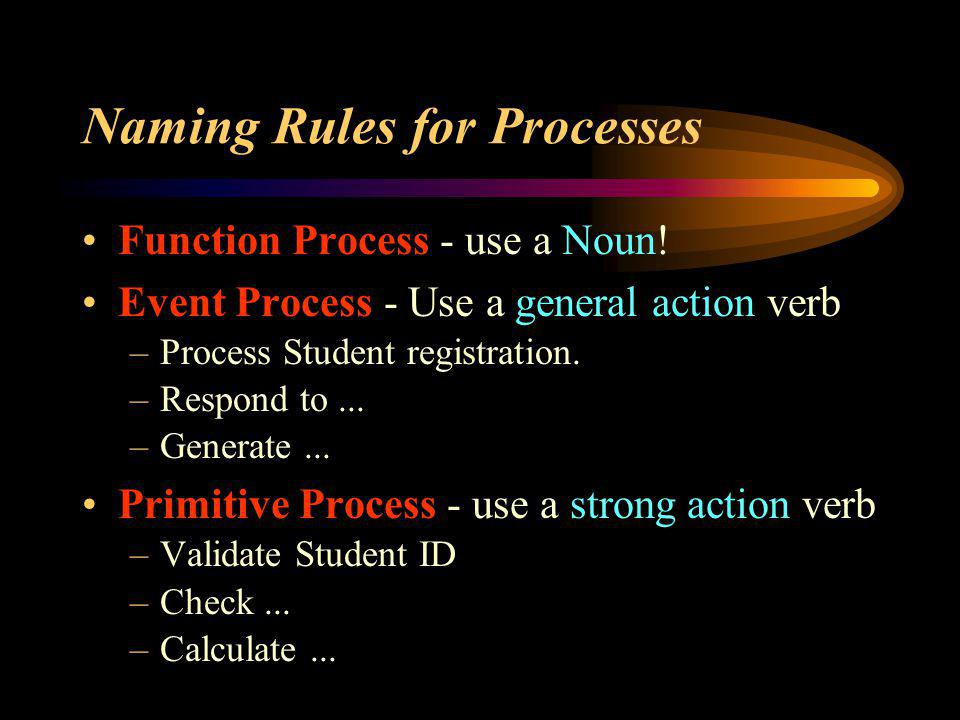 Naming Rules for Processes Function Process - use a Noun! Event Process - Use a general action verb –Process Student registration. –Respond to... –Gen