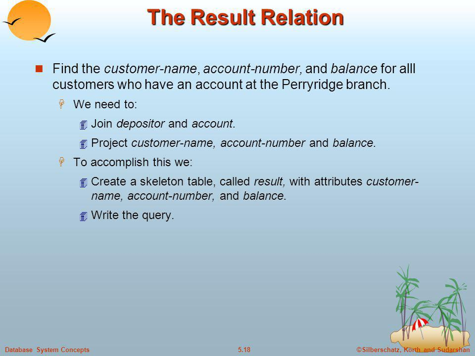 ©Silberschatz, Korth and Sudarshan5.18Database System Concepts The Result Relation Find the customer-name, account-number, and balance for alll custom
