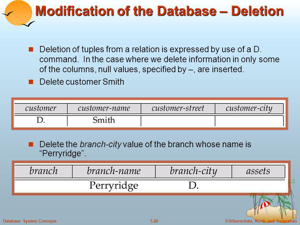 ©Silberschatz, Korth and Sudarshan5.26Database System Concepts Modification of the Database – Deletion Deletion of tuples from a relation is expressed