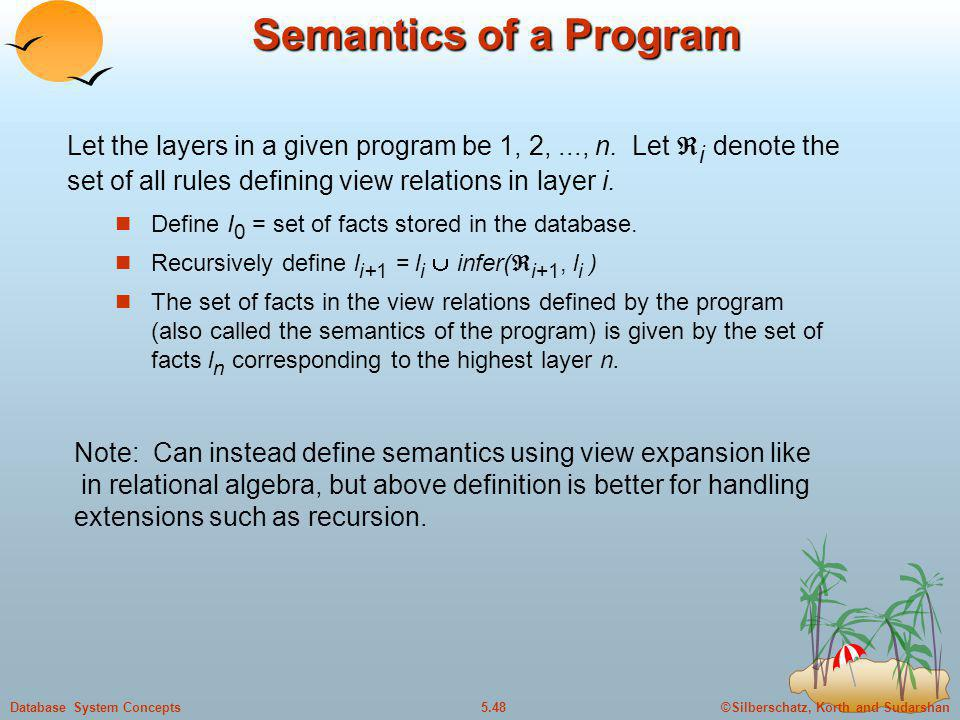 ©Silberschatz, Korth and Sudarshan5.48Database System Concepts Semantics of a Program Define I 0 = set of facts stored in the database. Recursively de