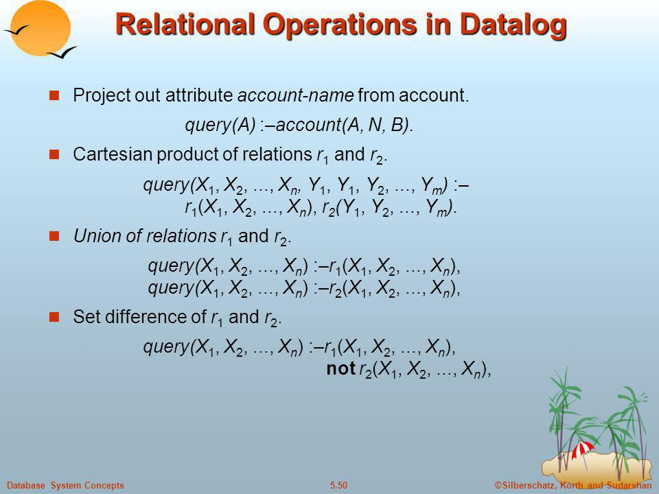 ©Silberschatz, Korth and Sudarshan5.50Database System Concepts Relational Operations in Datalog Project out attribute account-name from account. query