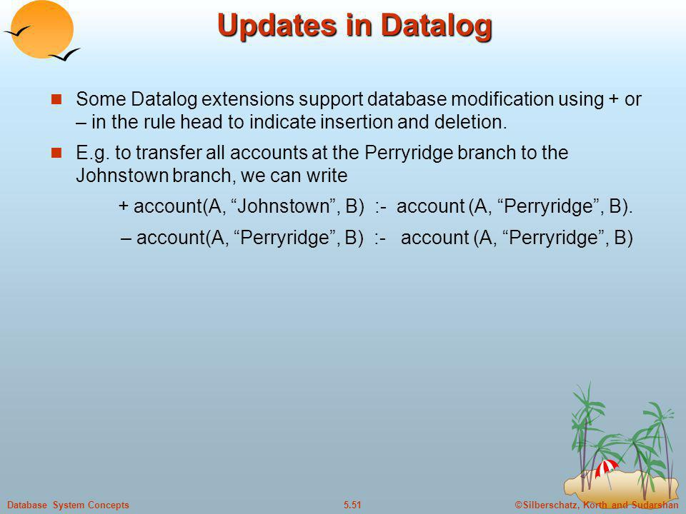 ©Silberschatz, Korth and Sudarshan5.51Database System Concepts Updates in Datalog Some Datalog extensions support database modification using + or – i