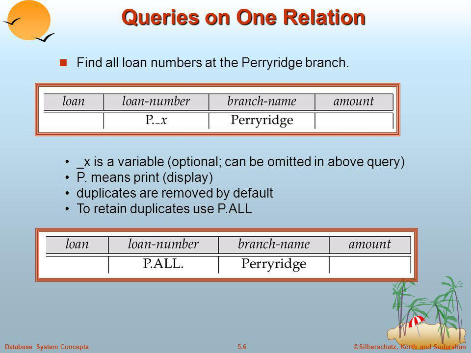 ©Silberschatz, Korth and Sudarshan5.6Database System Concepts Queries on One Relation Find all loan numbers at the Perryridge branch. _x is a variable