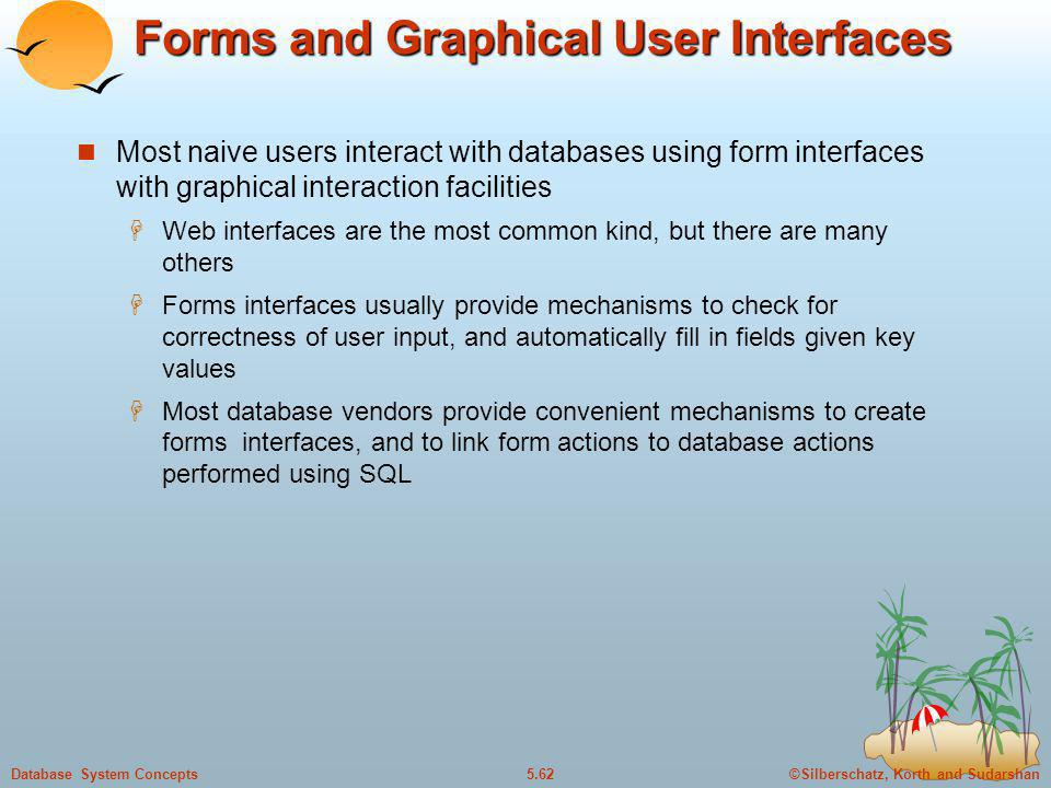 ©Silberschatz, Korth and Sudarshan5.62Database System Concepts Forms and Graphical User Interfaces Most naive users interact with databases using form