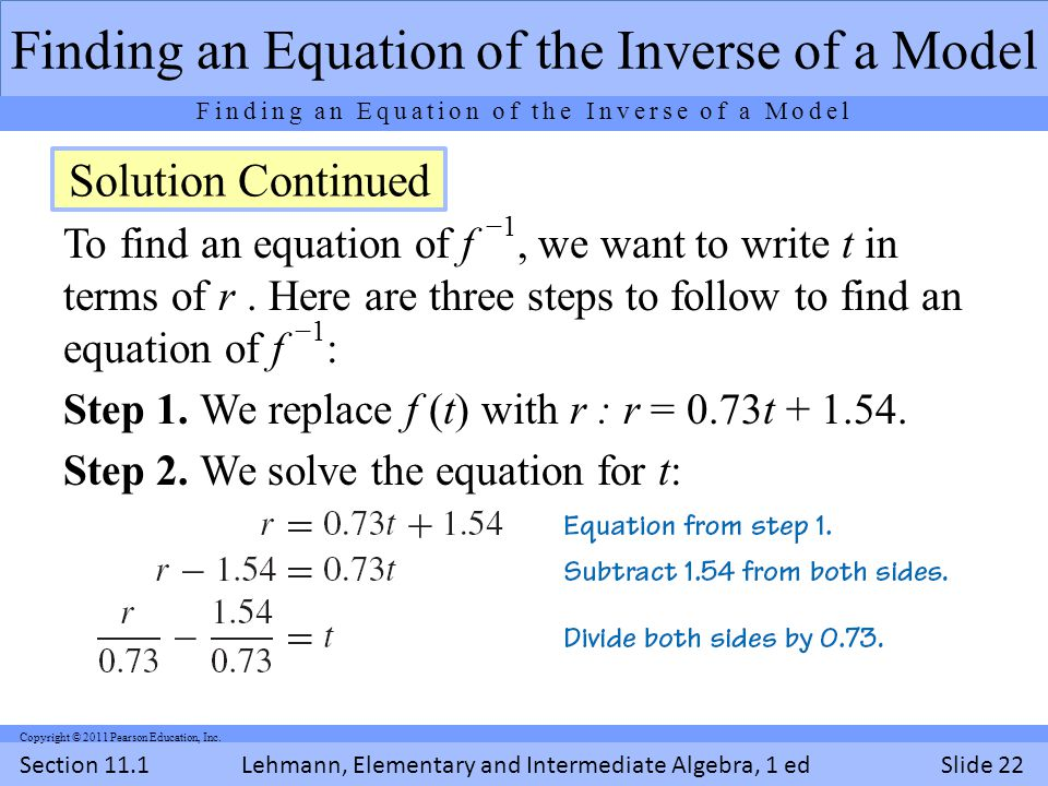 Lehmann, Elementary and Intermediate Algebra, 1 ed Section 11.1Slide 22 Copyright © 2011 Pearson Education, Inc.