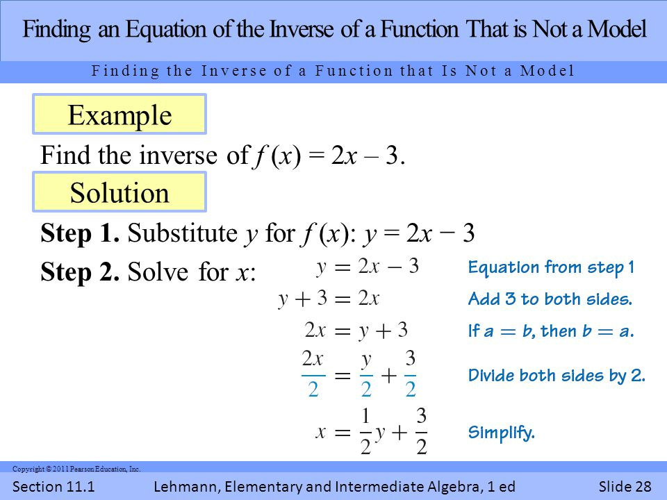 Lehmann, Elementary and Intermediate Algebra, 1 ed Section 11.1Slide 28 Copyright © 2011 Pearson Education, Inc.