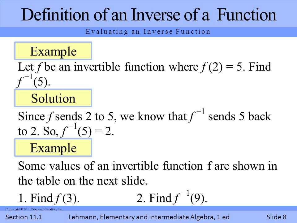Lehmann, Elementary and Intermediate Algebra, 1 ed Section 11.1Slide 8 Copyright © 2011 Pearson Education, Inc.