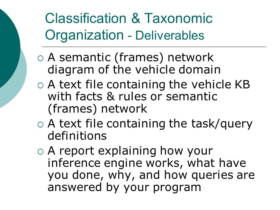 Classification & Taxonomic Organization - Deliverables  A semantic (frames) network diagram of the vehicle domain  A text file containing the vehicle KB with facts & rules or semantic (frames) network  A text file containing the task/query definitions  A report explaining how your inference engine works, what have you done, why, and how queries are answered by your program