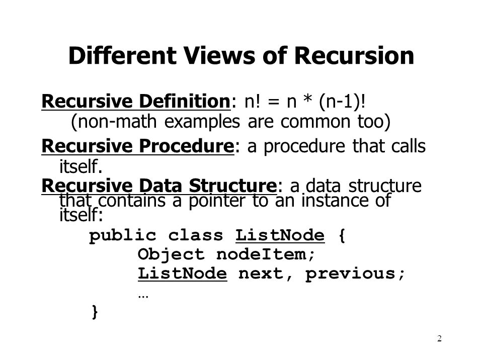 23 Non-recursive Fibonacci Two bottom-up iterative solutions: –Create an array of size n, and fill with values starting from 1 and going up to n –Or, have a loop from small values going up, but only remember two previous Fibonacci values use them to compute the next one (See next slide)