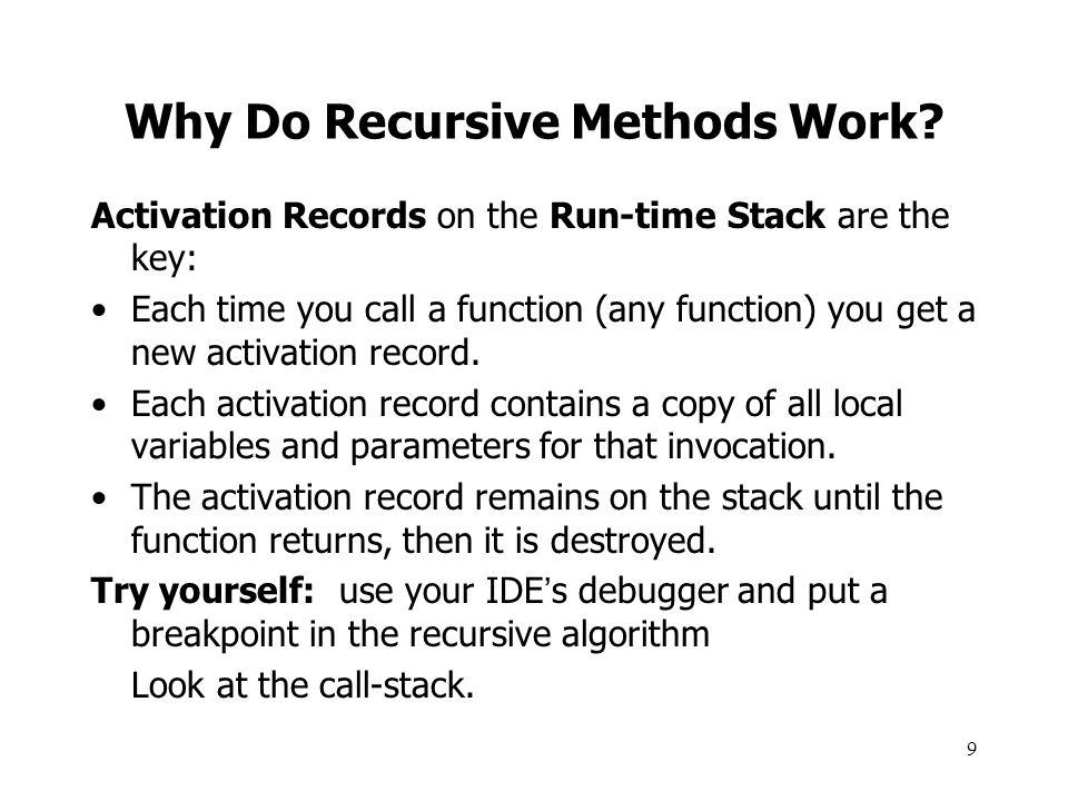 10 Broken Recursive Factorial public static int Brokenfactorial(int n){ int x = Brokenfactorial(n-1); if (n == 1) return 1; else return n * x; } What's wrong here.