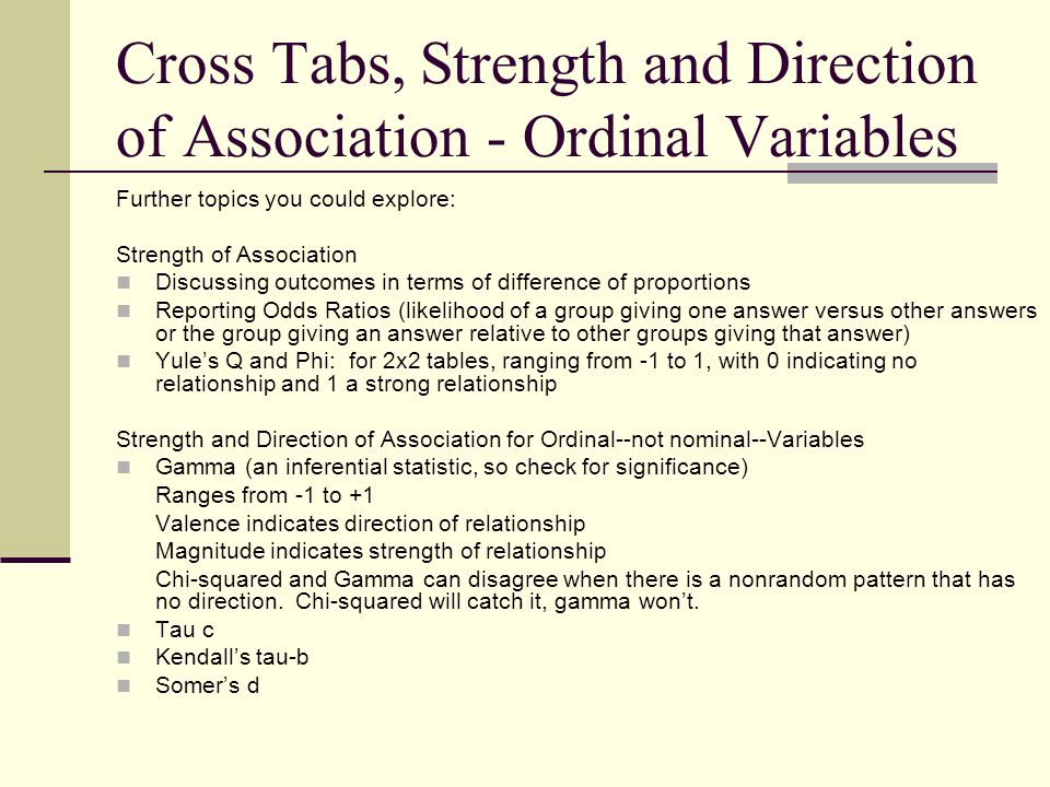 Cross Tabs, Strength and Direction of Association - Ordinal Variables Further topics you could explore: Strength of Association Discussing outcomes in
