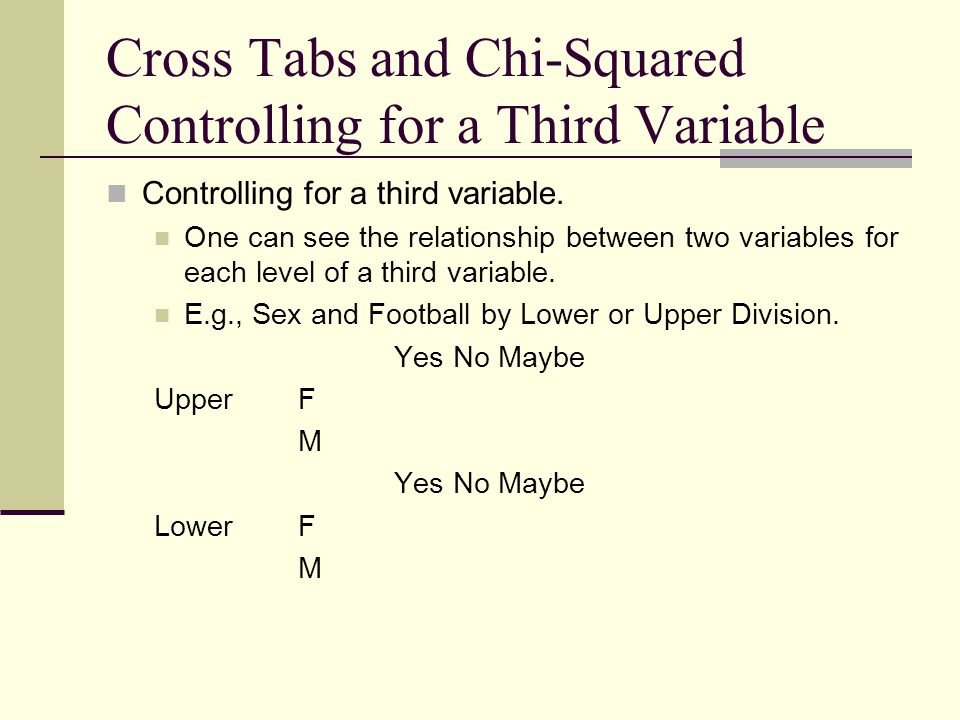 Cross Tabs and Chi-Squared Controlling for a Third Variable Controlling for a third variable. One can see the relationship between two variables for e
