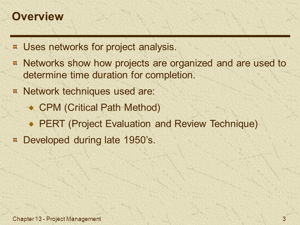 Chapter 13 - Project Management 14 Slack is the amount of time an activity can be delayed without delaying the project.