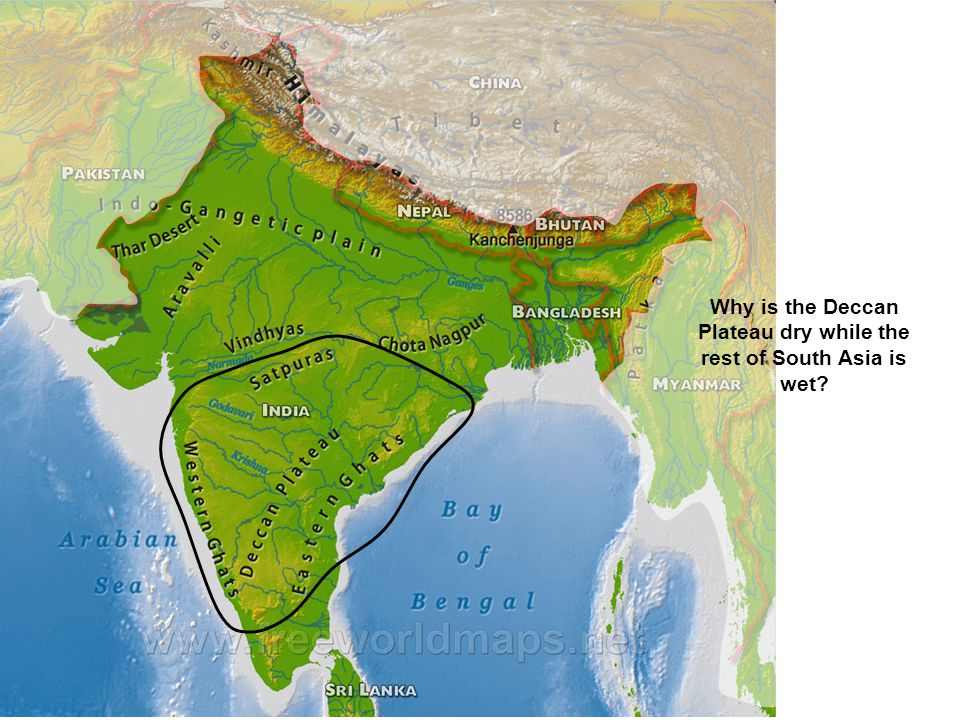 Why is the Deccan Plateau dry while the rest of South Asia is wet?