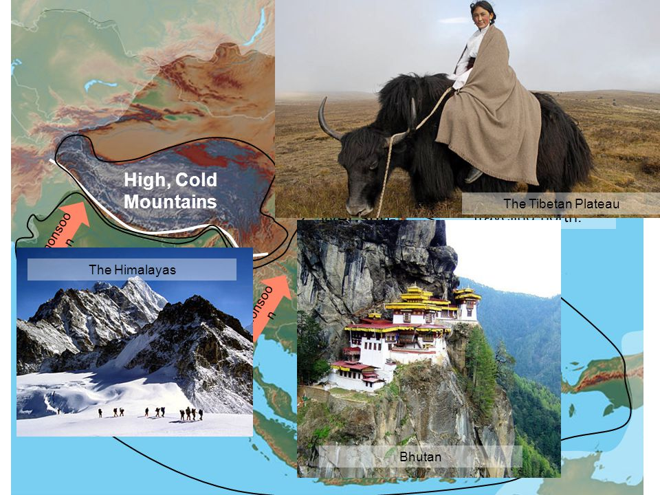 Wet Tropical High, Cold Mountains monsoo n The mountains block the warm, wet weather from traveling north. Wet Sub- Tropical Wet Tropical The Himalaya