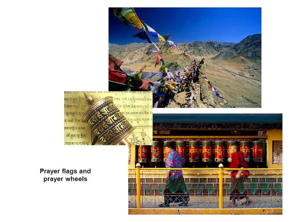 Prayer flags and prayer wheels
