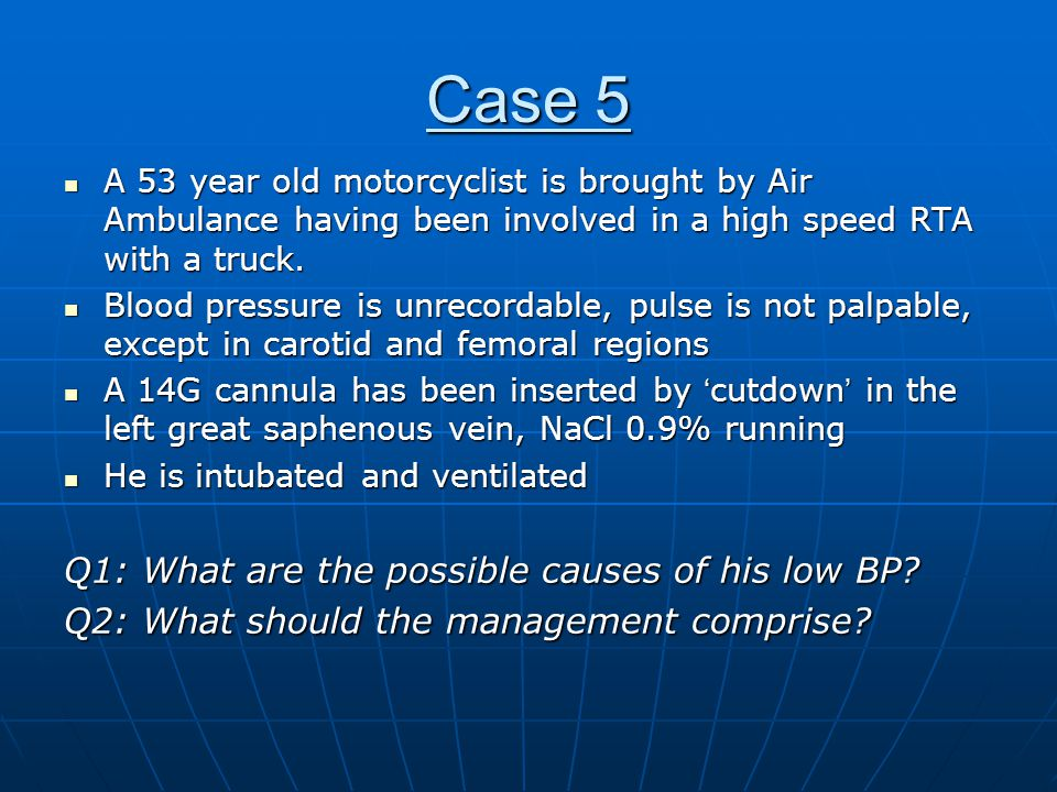 Case 5 Management plan : Management plan : ABC approachABC approach Volume resuscitationVolume resuscitation Achieve stabilityAchieve stability Transfer to CT scan for 'Trauma series'Transfer to CT scan for 'Trauma series' Act upon findingsAct upon findings A and B are checked and cleared A and B are checked and cleared No pneumothorax detected clinicallyNo pneumothorax detected clinically CXR confirms no extrapulmonary airCXR confirms no extrapulmonary air