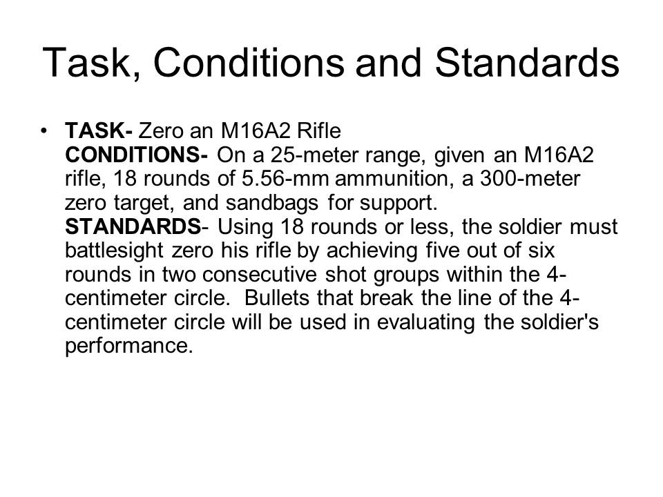 M16A2 Initial Front Sight Setting For 25 Meter Zero