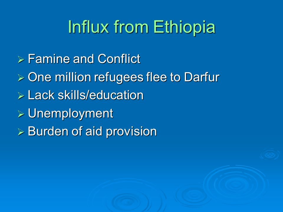 Influx from Ethiopia  Famine and Conflict  One million refugees flee to Darfur  Lack skills/education  Unemployment  Burden of aid provision